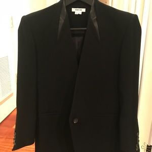 Helmut Lang wool blend leather trim Blazer